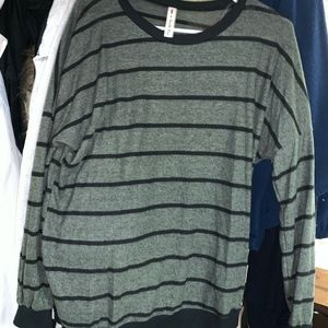 Large olive and black stripe sweater